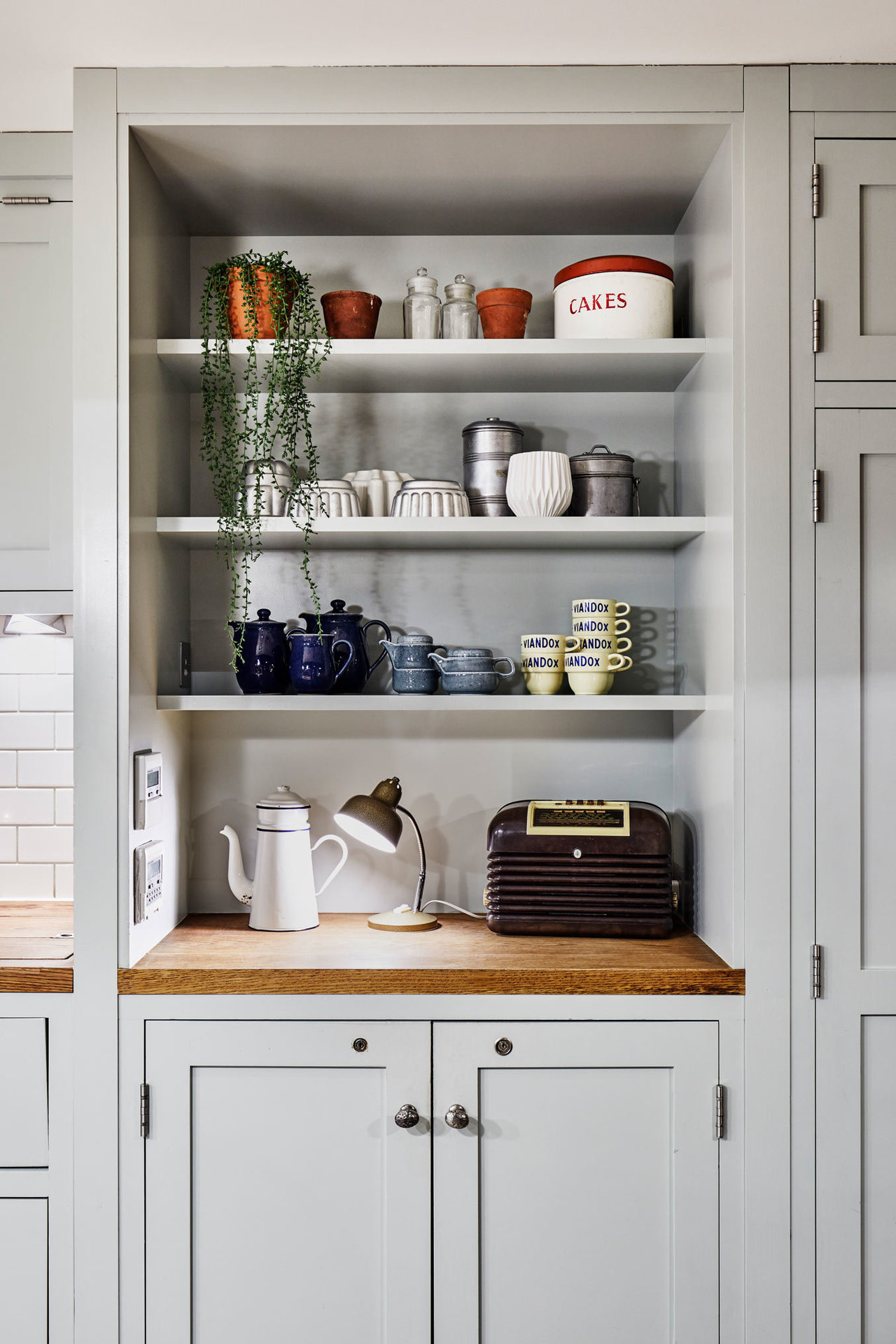 A cabinet with crockery